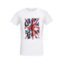 Creative Flag Letter CAN YOU SEE THE FUTURE Printed Short Sleeve Classic Fit T-Shirt in White