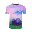 New Fashion 3D Colorful Geometric Printed Crewneck Short Sleeve Classic-Fit Tee