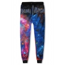 Letter DOCTOR WHO Blue Galaxy Print Drawstring Waist Loose Fit Track Pants