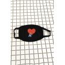 Kpop BT21 Cartoon Heart Print Cotton Black Face Mouth Mask