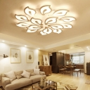 Simple Modern 2 Tiers Ceiling Light with Petal Metallic Multi Light LED Semi Flush Light Fixture in White