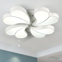 4 Lights Loving Heart Lighting Fixture Contemporary Metallic LED Flush Mount in White