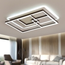 Geometric Pattern Ceiling Light Modernism Acrylic LED Ceiling Lamp in Coffee for Living Room