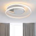 White Twist LED Flush Light Modern Chic Ceiling Fixture with Round Metal Canopy for Corridor