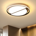 Metal Ultra Thin LED Flush Mount with Semicircle Shade Simplicity Ceiling Fixture in Black and White