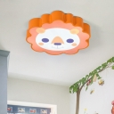 Lovely Lion Shape LED Ceiling Lamp Orange Metal Flush Light Fixture for Kids Room