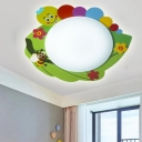 Acrylic LED Flush Mount with Colorful Caterpillar Pattern Decorative Ceiling Lamp for Children Room