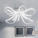 Ultra Thin Floral LED Flush Light Modern Fashion Metallic Ceiling Lamp in White for Girls Room