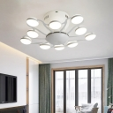 Metal Flared LED Flush Mount Nordic Style Multi Lights Ceiling Fixture in White for Restaurant