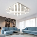 Crossed Lines LED Lighting Fixture with Curve Bar Nordic Style Silicon Gel Flush Light in Warm/White