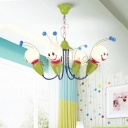4/6 Heads Bee Shape Hanging Light with Milky Glass Shade Children Room Chandelier in Red