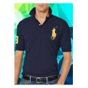 Men Summer Short Sleeve Turn-Down Collar Logo Print Chest Business Cotton Polo