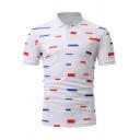Unique Colorful Striped Short Sleeve Men White Slim Fit Polo Shirt