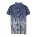 Men's Retro Washed Ombre Navy Cotton Casual Short Sleeve Polo Shirt