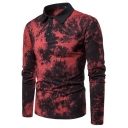 Trendy Tie Dye Printed Three-Button Long Sleeve Polo Shirt for Men