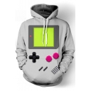 Unique 3D Game Console Printed Pullover Drawstring Hoodie in Grey