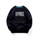 Harry Potter Simple Letter DOBBY IS FREE Print Round Neck Long Sleeve Cotton Sweatshirt