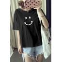 Cute Cartoon Happy Face Print Loose Fit Summer Short Sleeve T-Shirt