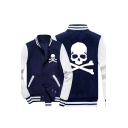 Fashion Skull Print Stand Collar Long Sleeve Button Down Colorblock Baseball Jacket