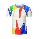 Cool 3D Splash Ink Print Men's Basic Short Sleeve White Fitted T-Shirt