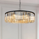 8 Bulbs Circular Suspended Light with Clear Crystal Shade Modern Design Chandelier Lamp