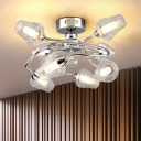 8 Lights Swirl Arm Lighting Fixture with Glass Shade Modernism Semi Flush Light in Polished Chrome