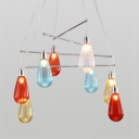 8 Lights Water Drop Chandelier Light with Colorful Glass Shade Modernism Decorative Suspension