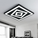 Stylish Modern Square LED Flush Mount Metallic Ultra Thin Ceiling Light in Black for Office Studio