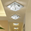 Clear Crystal Semi Flush Light Contemporary Stainless LED Ceiling Light in Warm/White/Neutral