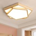 Pentagon Indoor Lighting Fixture Nordic Style Acrylic Shade LED Flush Light Fixture in Wood