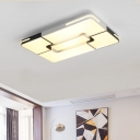 Oblong Surface Mount Ceiling Light Modern Fashion Eye Protection Metal LED Flush Light in Warm/White