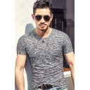 Men's Basic Round Neck Short Sleeve Heather Color Slim Fitted T-Shirt