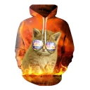 3D Fire Galaxy Cat Printed Long Sleeve Loose Fit Orange Drawstring Hoodie