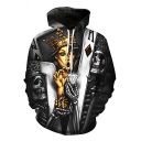 3D Poker Skull Crown Women Printed Black Loose Fit Drawstring Hoodie