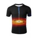 Cool Unique 3D Universe Galaxy Print Round Neck Black T-Shirt
