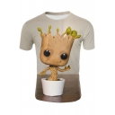 Groot 3D Cartoon Pattern Crewneck Short Sleeve Basic Grey T-Shirt
