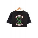 Trendy Snake Letter Printed Loose Fit Short Sleeve Cropped T-Shirt