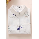 Cartoon Animal Plants Printed Long Sleeve Regular-Fit White Shirt for Girls