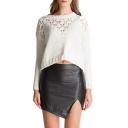 New Stylish High Waist Fashion Slant Cut Mini Bodycon Black PU Skirt