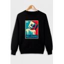 American Music Producer and DJ Funny Cartoon Smile Face Letter Print Crew Neck Long Sleeve Regular-Fit Black Sweatshirt