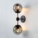 2 Lights Orb Wall Light Modernism Simple Amber Glass Decorative Wall Sconce in Satin Black for Hallway
