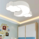 Moon and Cloud Flushmount Amusement Park Acrylic Decorative LED Ceiling Lamp in White