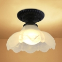 Cucurbit Glass Shade Semi Flush Mount Vintage Single Head Semi Flush Light in Black for Foyer Porch