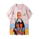 Retro Cartoon Figure Graffiti Pattern Short Sleeve Pink Casual Loose T-Shirt