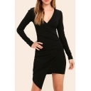 Women's Fashion V-Neck Long Sleeve Slant Cut Bottom Solid Color Ruched Mini Bodycon Dress