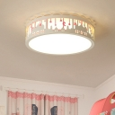 Acrylic Flush Mount Light with Drum Blue/Pink/White LED Ceiling Lamp for Nursing Room