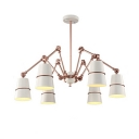 Rose Gold Cone Hanging Light Vintage Wrought Iron 6 Heads Suspended Light with Swing Arm