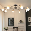 3/5/8 Lights Branch Chandelier Light Modern Metallic Hanging Light in Wood for Living Room