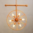6 Bulbs Wheel Hanging Chandelier Industrial Wrought Iron Suspended Light in Orange