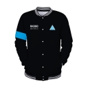 Fashion 3D Colorblocked Stand-Collar Long Sleeve Button Down Black Baseball Jacket